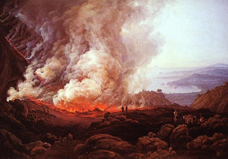 The dramatic eruption of a volcano – a terrifying and astounding natural phenomenon. Vesuvius erupting, painting by Johan Christian Dahl.