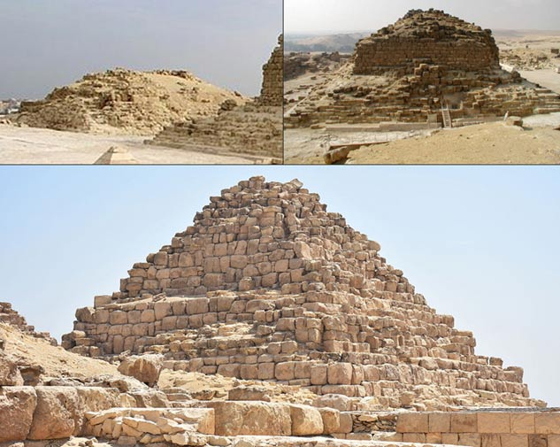 "The Queen's Pyramids of Giza. Top left, G1a ""Queen Hetepheres"", Top right G1b ""Queen Meritites"", and Bottom G1c ""Queen Henutsen."""