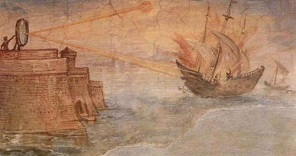 A depiction of how Archimedes may have set the Roman ships on fire with the help of parabolic mirrors.