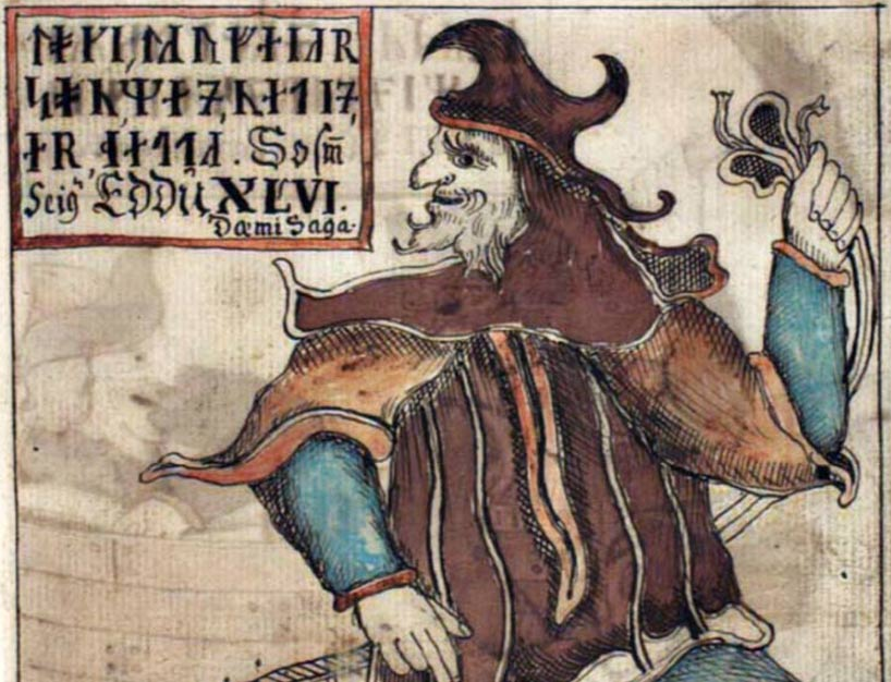 Detail, An illustration of Loki, the notorious Norse trickster god, from an Icelandic 18th century manuscript.