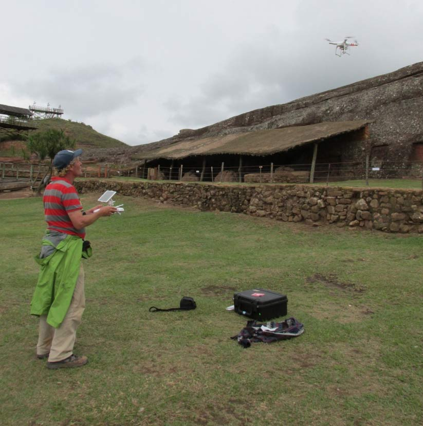 Author investigating the site with quadcopter drone.