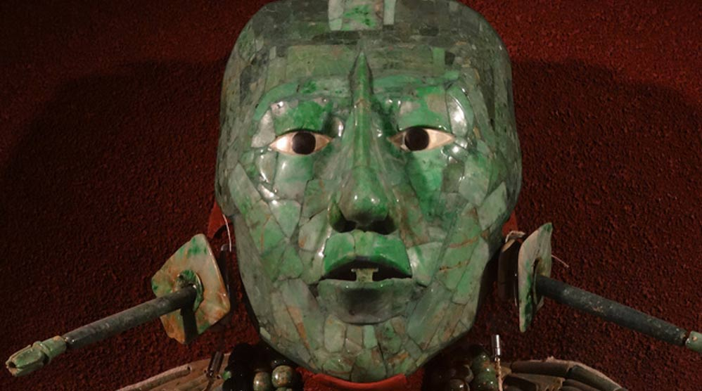 "The jade mask and ornaments found with King K'inich Janaab' Pakal, or ""Pakal the Great"" at Palenque."
