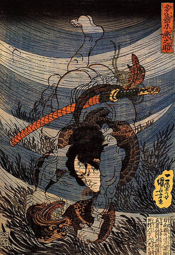 Illustration showing a man wrestling and capturing a kappa underwater.