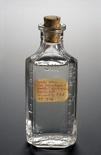 Bottle of medicinal water from the 'Fountain of Youth' in Florida, USA, dated to February 1936.