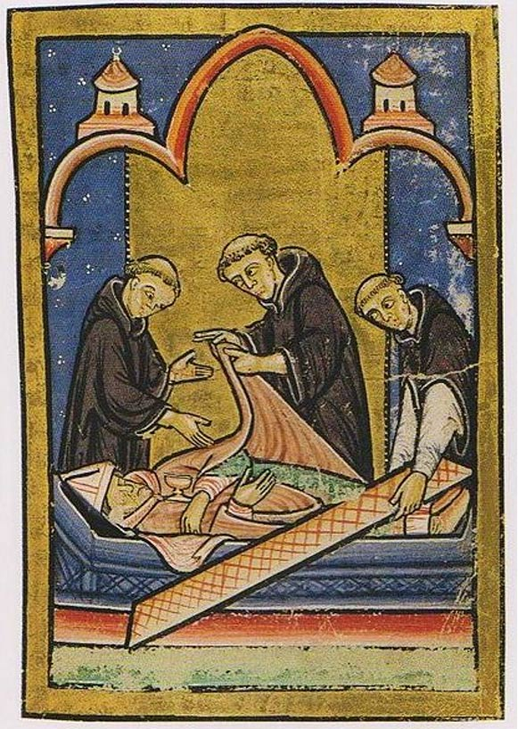 A miniature depicting the miracle where Cuthbert's body is discovered incorrupt.