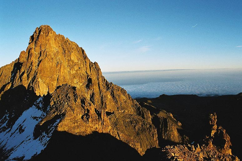 The second highest mountain in Africa, Mount Kenya.