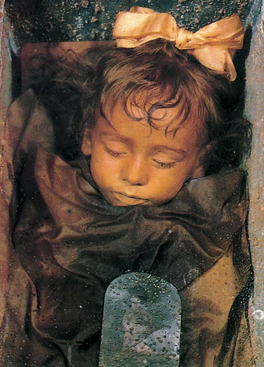 The mummy of the child Rosalia Lombardo (1918-1920) exposed in the cemetery of the Capuchins in Palermo.