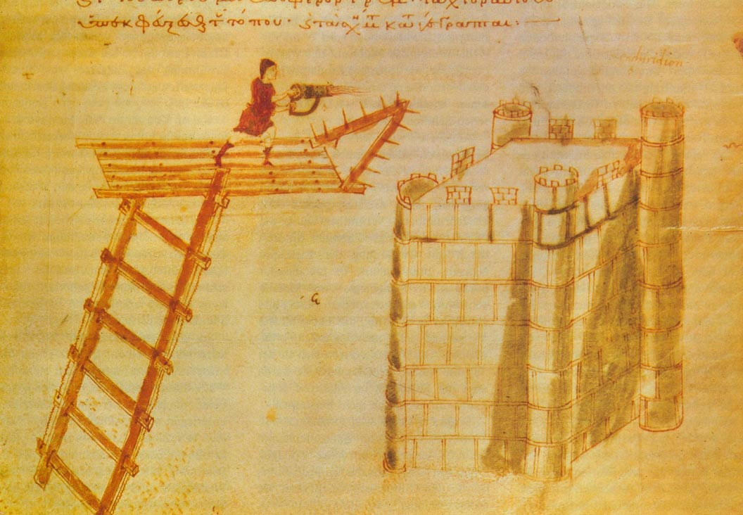 "Use of a cheirosiphōn (""hand-siphōn""), a portable flamethrower, used from atop a flying bridge against a castle."