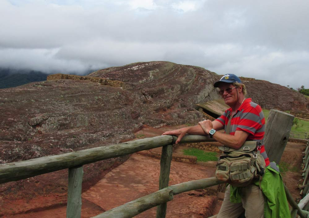 The author and a red sandstone outcrop.