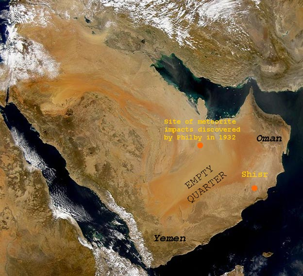 A satellite photograph of southern Arabia showing suspected sites of a lost city, and the meteorite impact zone.