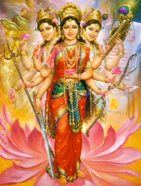 Sarasvati, Parvati, and Lakshmi, the Tridevi.