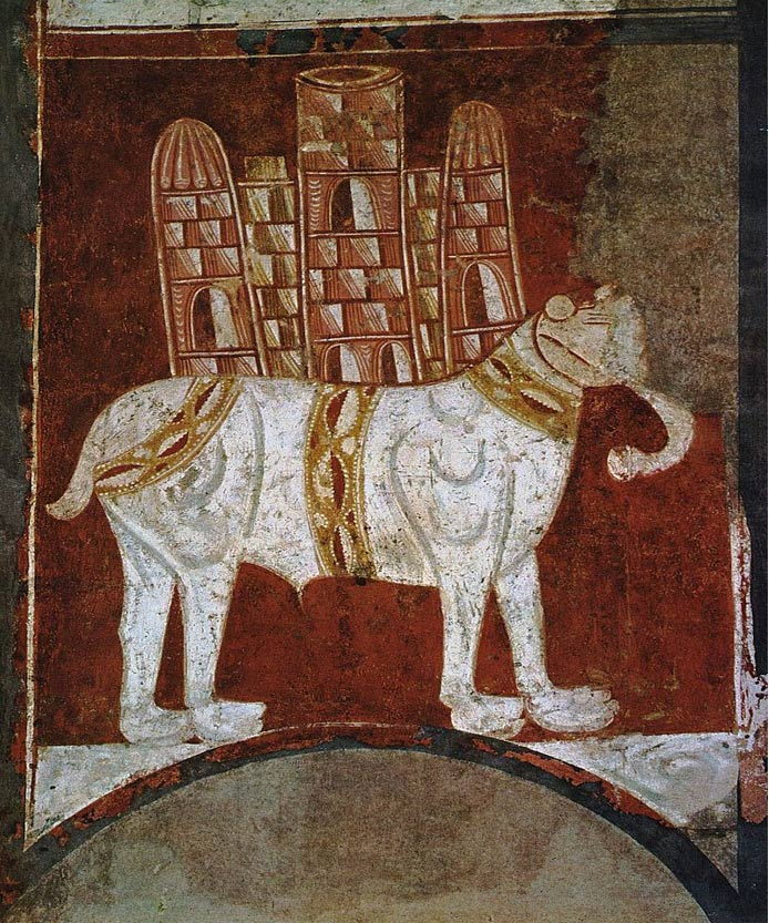 12th century Spanish painting of a war elephant. The elephant carries an elaborate howdah.